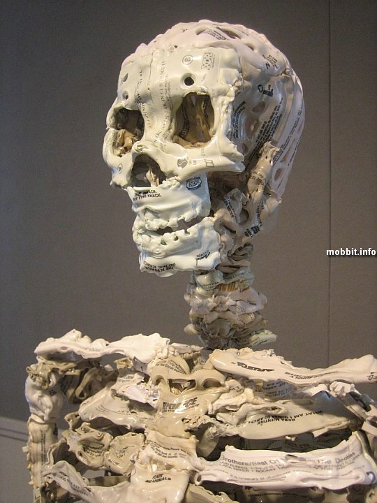 scull made of melted audiocassets