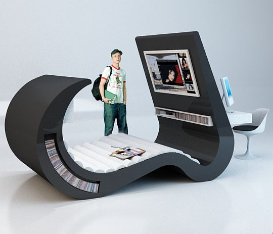 Brazilian Designer Roberta Rimme Introduced Conceptual Furniture,  All In One Set Which Can Be Used By Teenagers And Youth As Computer  Workplace, ...