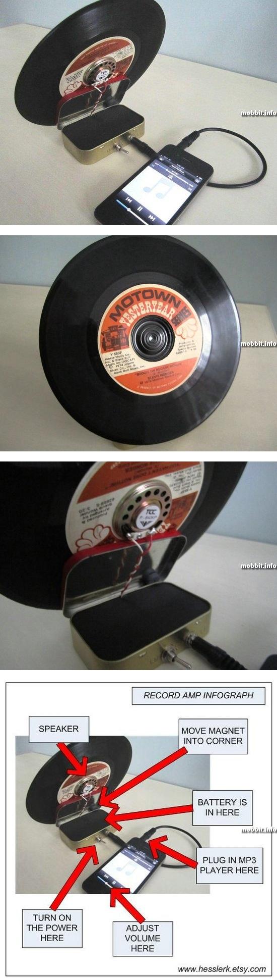 Ретро-колонка в виде виниловой пластинки