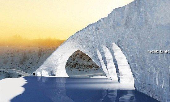 Самый длинный ледяной мост по проекту Леонардо да Винчи