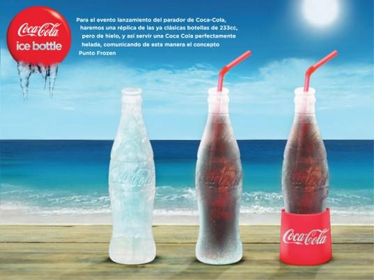 Coca Cola в бутылках... изо льда