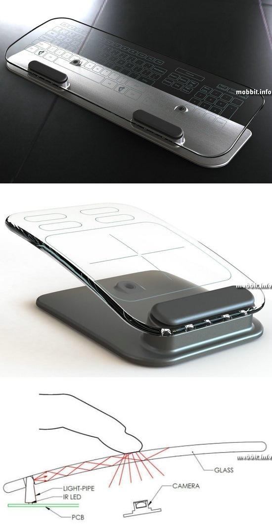 Стеклянные мышь и клавиатура