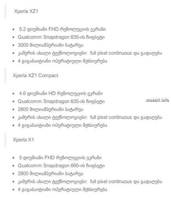 Xperia XZ1, XZ1 Compact и X1
