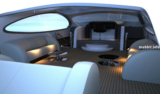 Помимо гаража для суперкара, судно оборудовано тремя отдельными апартаментами.  В каждом номере производитель...