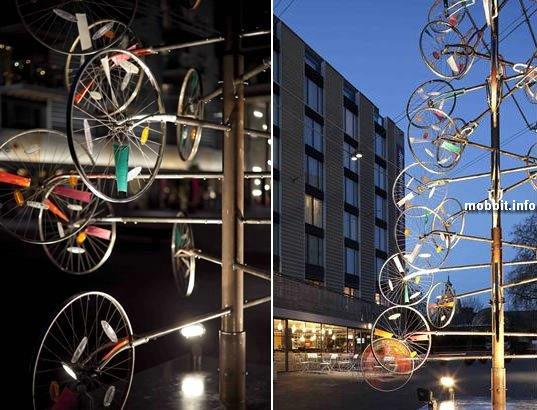 Новогодняя елка из велосипедных колес