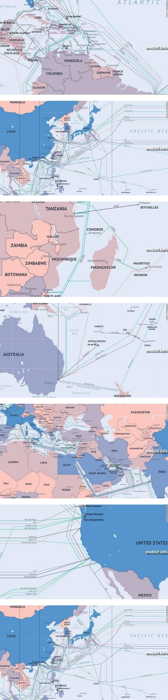 Подводные интернет-кабели Земли – карта