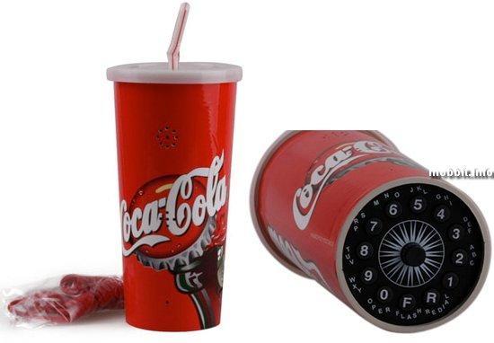 Телефон в виде стакана с кока-колой