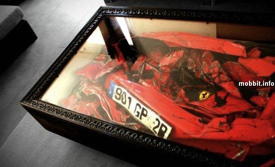 Журнальный столик из разбитого Ferrari