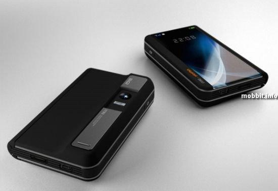 Концептуальный телефон с гибким выдвигающимся дисплеем