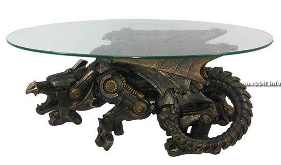 Журнальный столик с драконом в стиле стимпанк