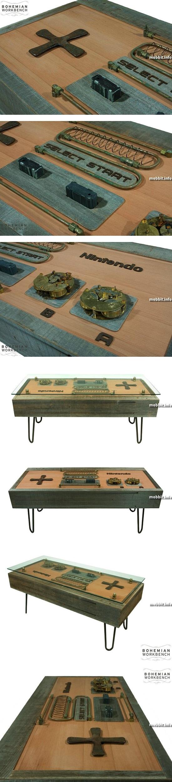Журнальный столик в виде контроллера Nintendo в стимпанк-стиле