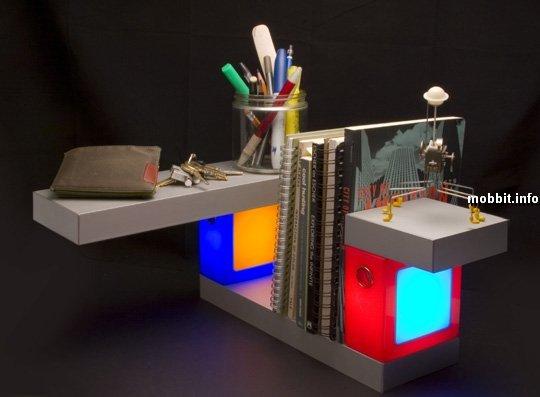 модульные полки с лампами